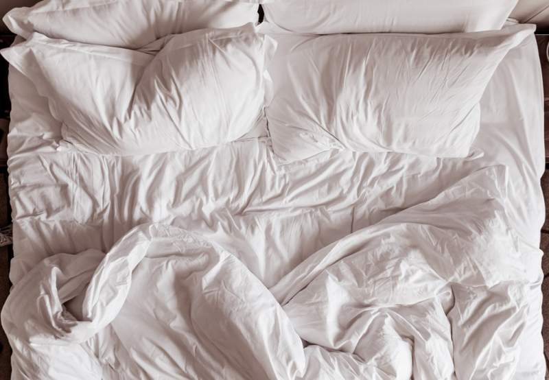 top-view-of-bedding-sheets-and-pillow